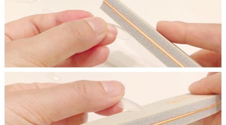 ネイルチップを削る